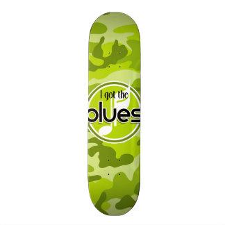 Blues; bright green camo, camouflage skate board decks
