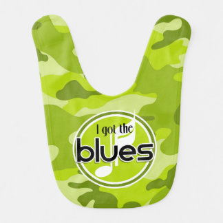 Blues bright green camo camouflage baby bibs