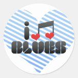Blues fan round stickers