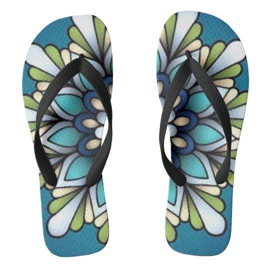 Blues Flower love Flip Flops