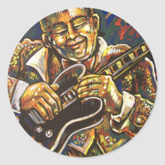 blues guitar classic round sticker