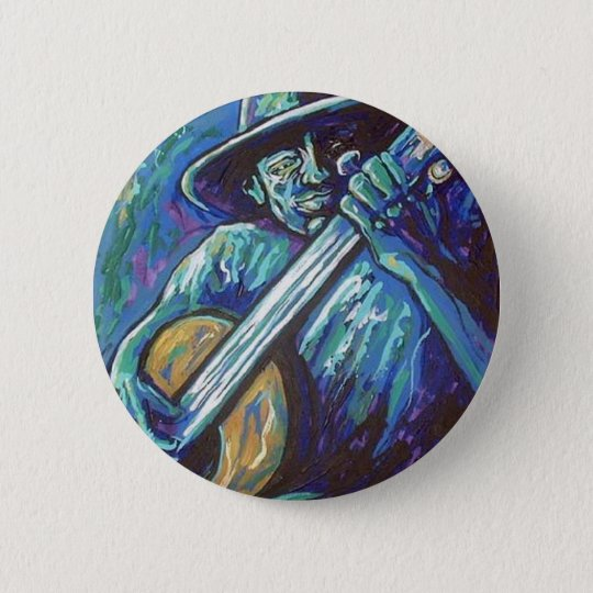 blues guitar man 6 cm round badge