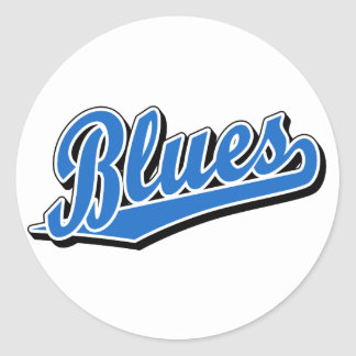 Blues in Light Blue Round Sticker