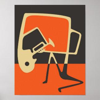 Blues & Jazz Saxophone Abstract Art Poster