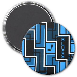 Blues magnet, large 7.5 cm round magnet