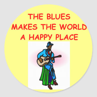 blues music classic round sticker