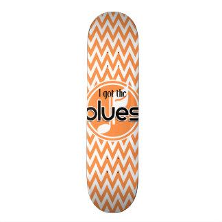 Blues Music; Orange and White Chevron Skateboard Deck