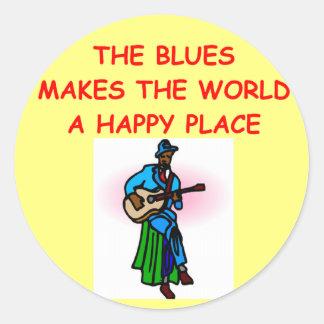 blues music round sticker