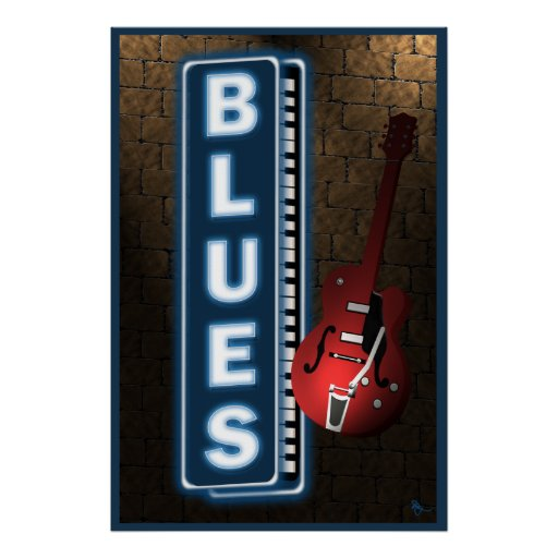Blues Neon Sign Poster