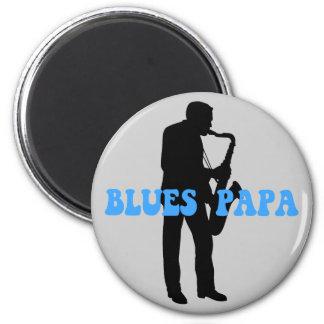 Blues papa blues 6 cm round magnet