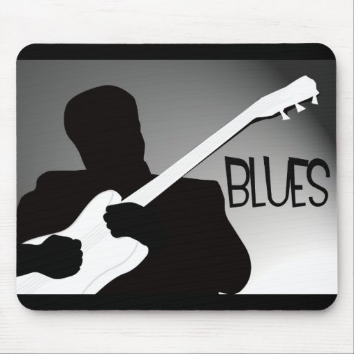 Blues player's silhouette with a spotlight mouse pads