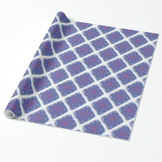 Blues, Purples, Violets Fractal with White Edging Wrapping Paper