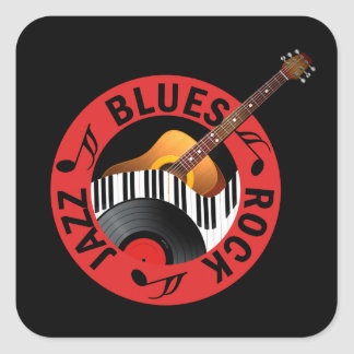 Blues Rock and Jazz Square Sticker