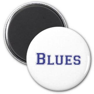 Blues square logo in blue 6 cm round magnet