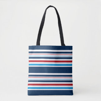 Blues, White and Red Striped Tote Bag