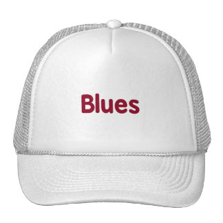 Blues word burgundy music design.png trucker hats