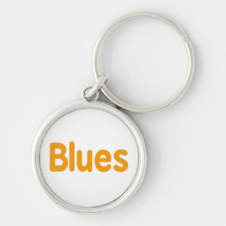 Blues word l orange music design.png Silver-Colored round key ring