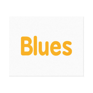 Blues word l orange music design.png stretched canvas prints