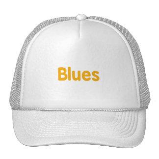 Blues word orange music design.png trucker hat