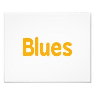 Blues word orange music design png photographic print