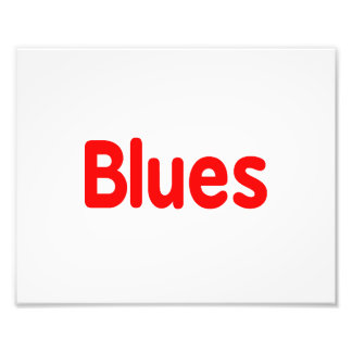 Blues word red music design png photo print