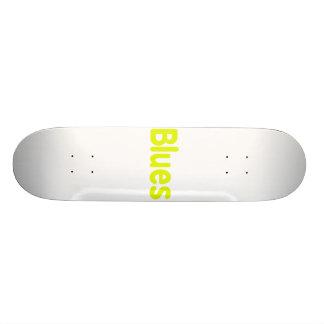 Blues word yellow music design.png 18.1 cm old school skateboard deck