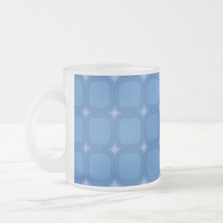 Bluesville Retro Squares Stars Frosted Glass Mug