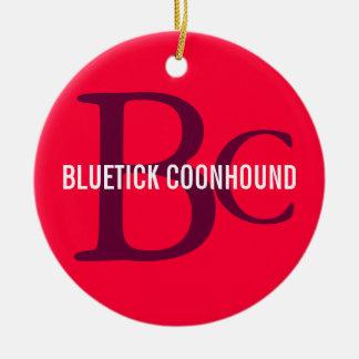 Bluetick Coonhound Breed Monogram Round Ceramic Decoration