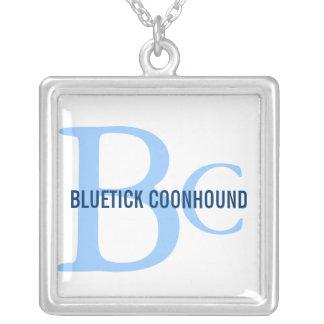 Bluetick Coonhound Breed Monogram Square Pendant Necklace