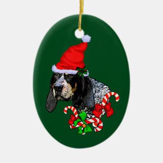 Bluetick Coonhound Christmas Ceramic Oval Decoration