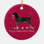 Bluetick Coonhound Christmas Round Ceramic Decoration
