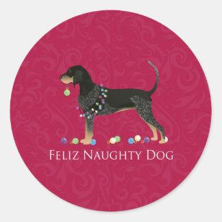 Bluetick Coonhound Christmas Round Sticker
