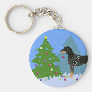 Bluetick Coonhound Decorating Christmas Tree Basic Round Button Key Ring