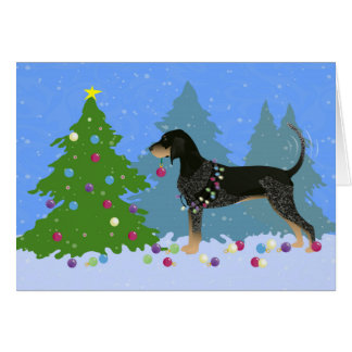 Bluetick Coonhound Decorating Christmas Tree Greeting Card