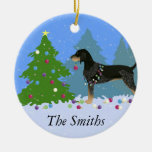 Bluetick Coonhound Decorating Christmas Tree Round Ceramic Decoration