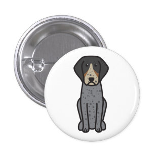 Bluetick Coonhound Dog Cartoon Buttons