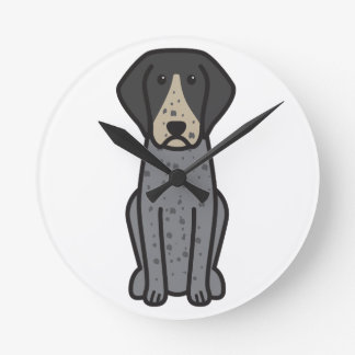 Bluetick Coonhound Dog Cartoon Round Wall Clocks