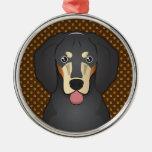 Bluetick Coonhound Dog Cartoon Paws Ornaments