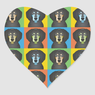 Bluetick Coonhound Dog Cartoon Pop-Art Heart Sticker