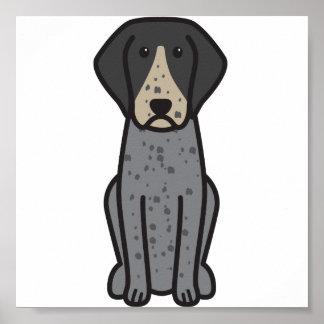 Bluetick Coonhound Dog Cartoon Poster