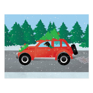 Bluetick Coonhound Dog Driving Christmas Car Postcard