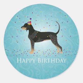 Bluetick Coonhound Happy Birthday Design Round Sticker