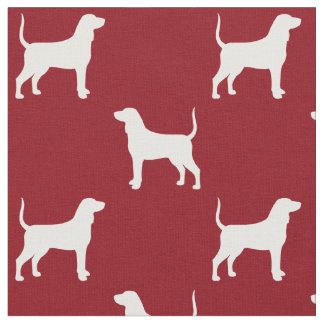 Bluetick Coonhound Silhouettes Pattern Red Fabric