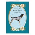 Bluetick Coonhound, Teal Floral Sympathy, Pet Loss Card