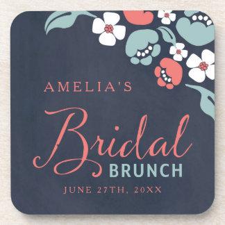 Bluish Chalkboard Floral Bridal Brunch Square Beverage Coaster