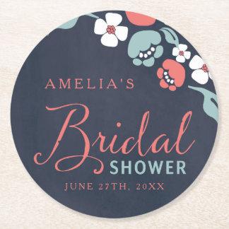 Bluish Chalkboard Floral Bridal Shower Round Round Paper Coaster