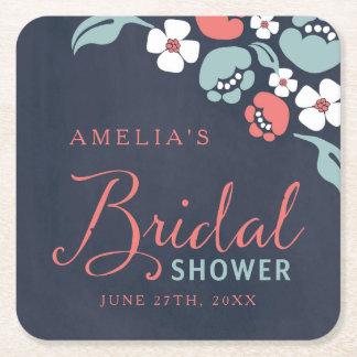 Bluish Chalkboard Floral Bridal Shower Square Square Paper Coaster