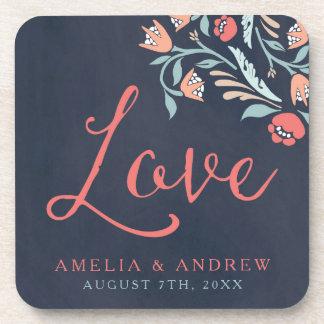 Bluish Chalkboard Floral Love Wedding Coaster