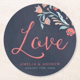 Bluish Chalkboard Floral Love Wedding Round Paper Coaster