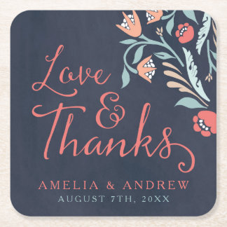 Bluish Chalkboard Floral Wedding Love and Thanks Square Paper Coaster
